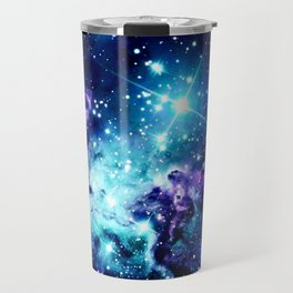 Fox Fur Nebula Turquoise Blue Purple Black Travel Mug