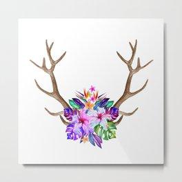 Floral Horn Metal Print