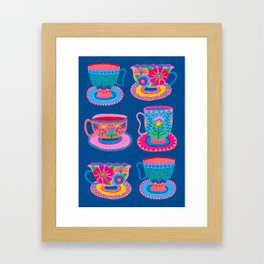 Bright Colorful Teacups Framed Art Print