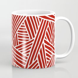 Abstract Navy Red & White Lines and Triangles Pattern Coffee Mug