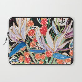 Lions and Tigers Dark Floral Still Life Painting Laptop Sleeve