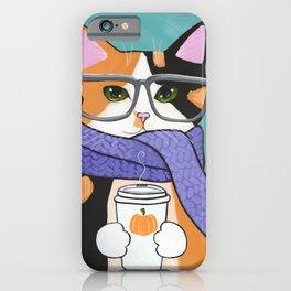 Calico Autumn Coffee Cat iPhone Case
