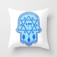 Hamsa for blessings - david shield - blue Throw Pillow