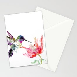 Little Hummingbird and Pink Flower, Bird art, minimalist bird painting, soft pink olive green design Stationery Cards