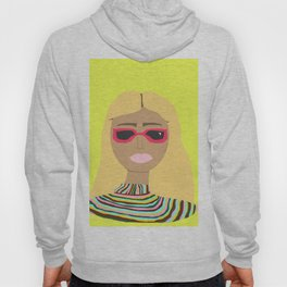 Lime Green Woman with Rainbow Sweater and Pink Sunglasses Hoody