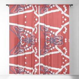 Tile #6 White-Blue Line Art on Red Sheer Curtain