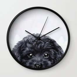 Toy poodle Black Wall Clock