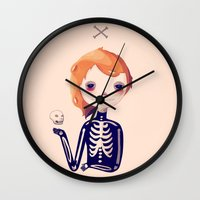 bones Wall Clocks featuring Bones by Nan Lawson