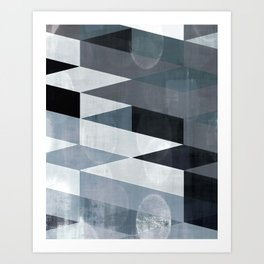 blue abstract, abstract art, office art, contemporary art, geometric print, modern painting, mid cen Art Print