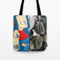 simpson Tote Bags featuring Bart Simpson by Arran.Sahota