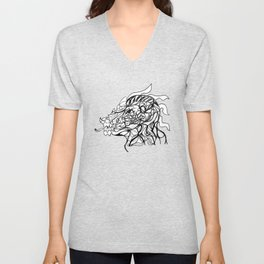 Dragon and human head Unisex V-Neck