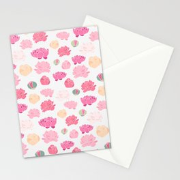 Mauve pink green orange hand painted peonies Stationery Cards