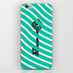 Teal White Zig Zag Stripes Pattern Black Wood Key iPhone & iPod Skin