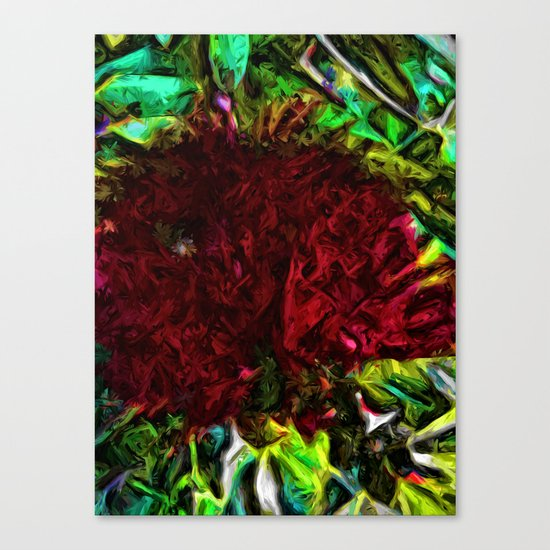 Red Flower in the Shadows and Bright Green Leaves Canvas Print