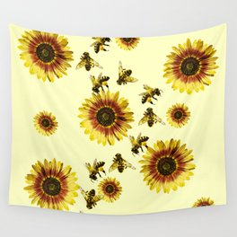 Yellow Sunflowers and Honey Bees Summer Pattern Wall Tapestry