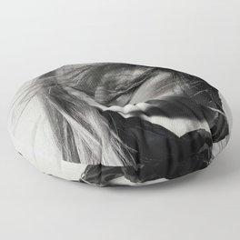 Brigitte Bardot Smoking a Cigarette, Black and White Photograph Floor Pillow