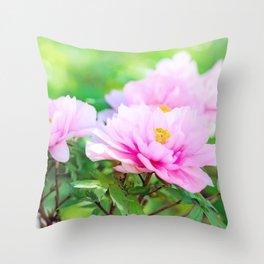 Pink  Peony Flower Throw Pillow