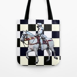 Knight on white horse with Chess board Tote Bag