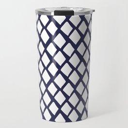 Rhombus White And Blue Travel Mug