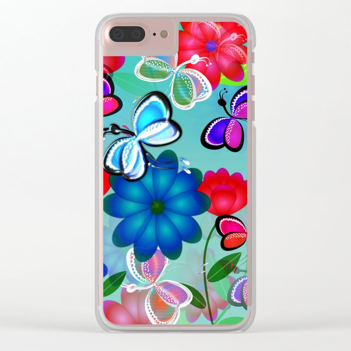 Abstract Butterflies with Flowers (Blue) Clear iPhone Case