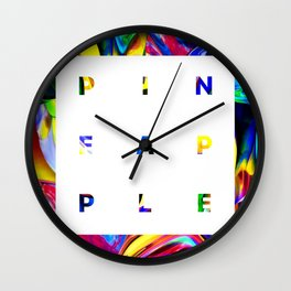 Pineapple Vibes on High Technicolor Wall Clock