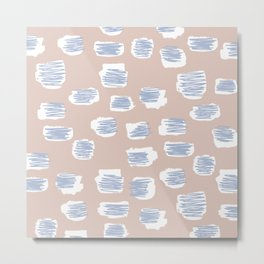 Spotted series messy abstract pastel blue nude spots Metal Print