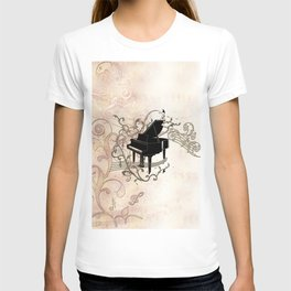 Music, piano with key notes and clef T-shirt