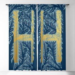 Botanical Metallic Monogram - Letter H Blackout Curtain