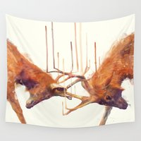 surrealism Wall Tapestries featuring Stags // Strong by Amy Hamilton