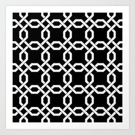 White Chain Links on Black Art Print