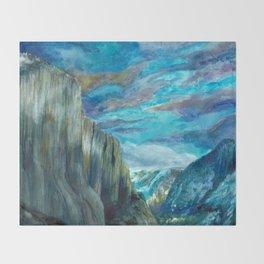 Tunnel Overlook Yosemite Watercolor Painting Throw Blanket