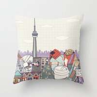 toronto Throw Pillows featuring Toronto by Ashley Ross