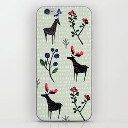 Berry loving deers on a green background iPhone Skin