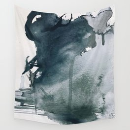 Lakeside: a minimal, abstract, watercolor and ink piece in shades of blue and green Wall Tapestry