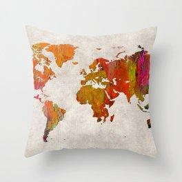World Map 57 Throw Pillow