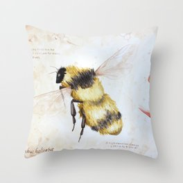 Bumble bee watercolor Throw Pillow
