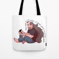 steven universe Tote Bags featuring Steven Universe: Greg and Steven by Liv Moy