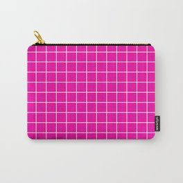 Hollywood cerise - fuchsia color - White Lines Grid Pattern Carry-All Pouch