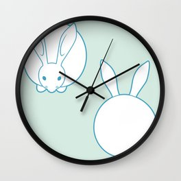 Lovely Blue Dreamy Bunnies Wall Clock