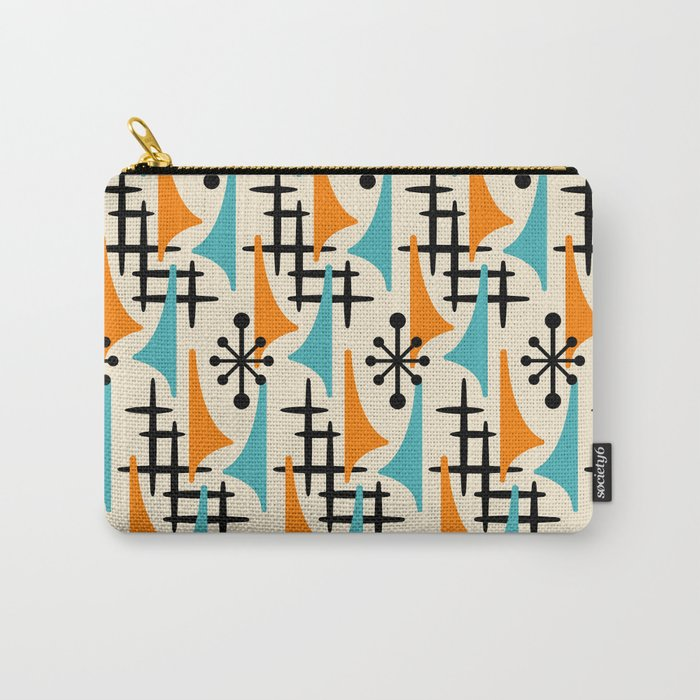 Mid Century Modern Atomic Wing Composition Orange & Blue Carry-All Pouch