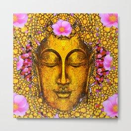 GOLDEN  EXOTIC BUDDHA  FACE PINK FLORAL ART Metal Print