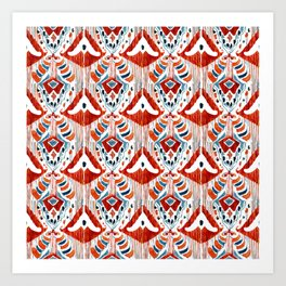 red bali ikat mini Art Print
