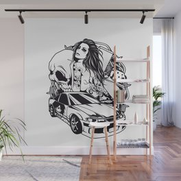 Tattoo GIRL with SKULL AND CAR - Snake Wall Mural