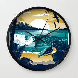 Costa Rica Vintage Travel Poster Wall Clock