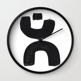 Black And White Minimalist Mid Century Abstract Ink Art Curved Tribal Mysterious Shapes Wall Clock