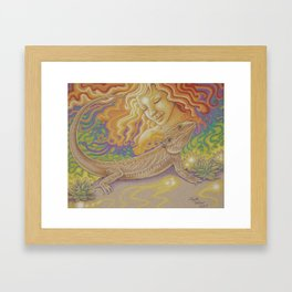 Sun And Dragon, Bearded Dragon Art Framed Art Print