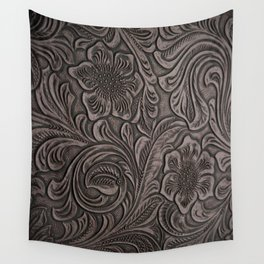 Distressed Smoky Tooled Leather Wall Tapestry