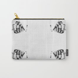 4 flag poles, black and white Carry-All Pouch