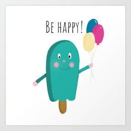 Happy icecream Art Print