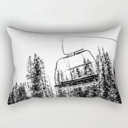 Empty Skilift // Black and White Snowboarding Dreaming of Winter Rectangular Pillow